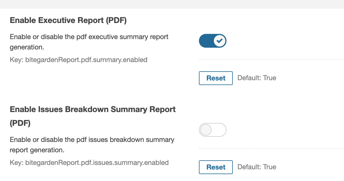Enable and disable reports cover